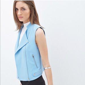 Forever 21 light blue moto vest S h&m zara